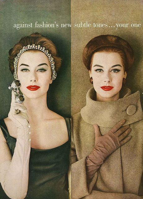 September Vogue 1956...this makeup was in in 1956 and it's in in 2012.....the cat eye and red lipstick never goes out of style.