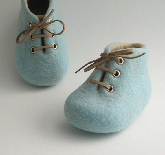 Newborn baby shoes felted crib shoes merino wool booties