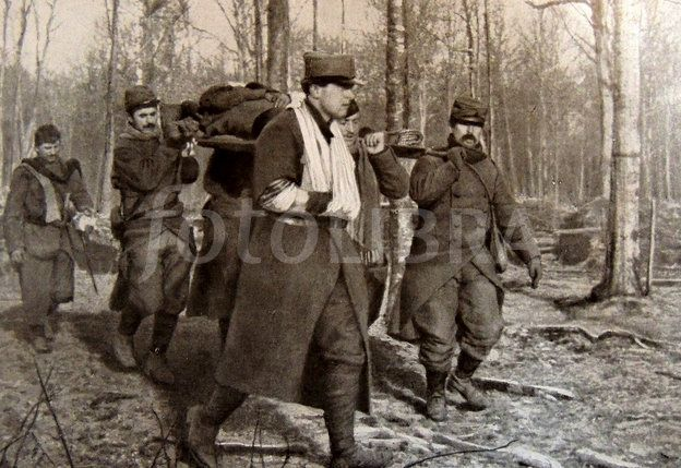 The body of Bruno Garibaldi, son of Riccioti and grandson of the great Italian hero Giuseppe Garibaldi's carried by French soldiers alongside whom he died fighting in December 1914 at the battle of Vosges.