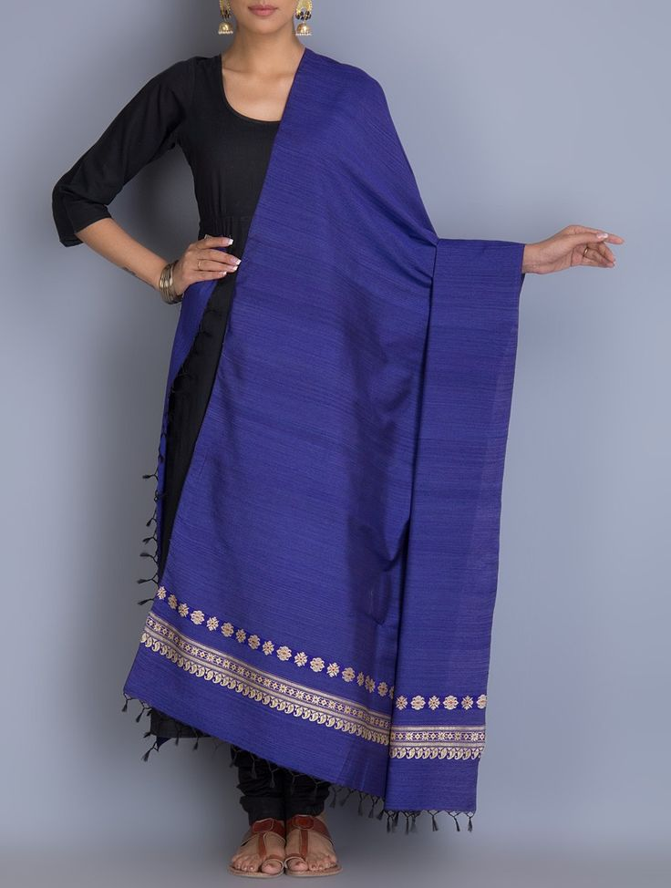 Buy Blue Baluchari Cotton Silk Dupatta Dupattas Woven Opulent Weaves Handwoven & Swarnachari Sarees and Clutches Online at Jaypore.com