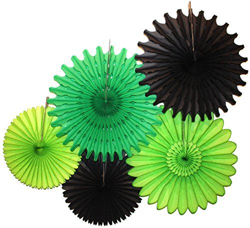 Tissue Paper Fan Collection - 5 Assorted Fans (Black Green Party)