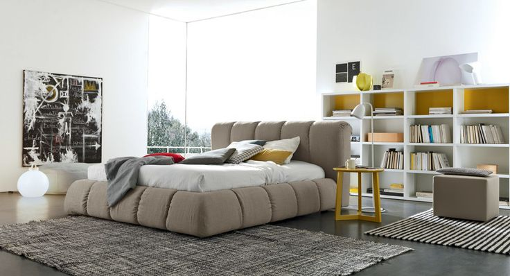Luxury super comfy soft padded  Italian designer beds by SMA Mobili. We supply in lots of different fabrics, colours and sizes. #comfybeds #paddedbeds #Italianbeds