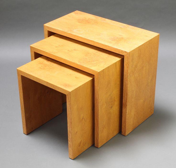 """Lot 919, A nest of 3 Heals oak interfitting coffee tables 21""""h x 12 1/2""""w x 23 1/2d, 18 1/2""""h x 19 1/2""""w x 11 1/2""""d and 16""""h x 15"""" x 11 1/2"""", est £50-75"""
