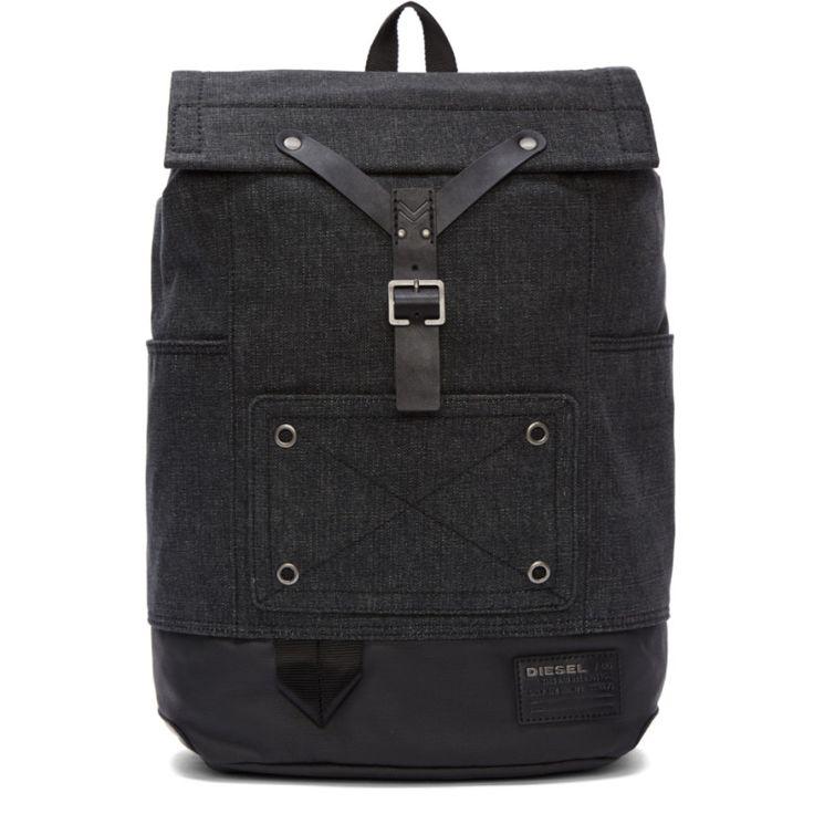 Diesel Black & Grey Denim Backpack