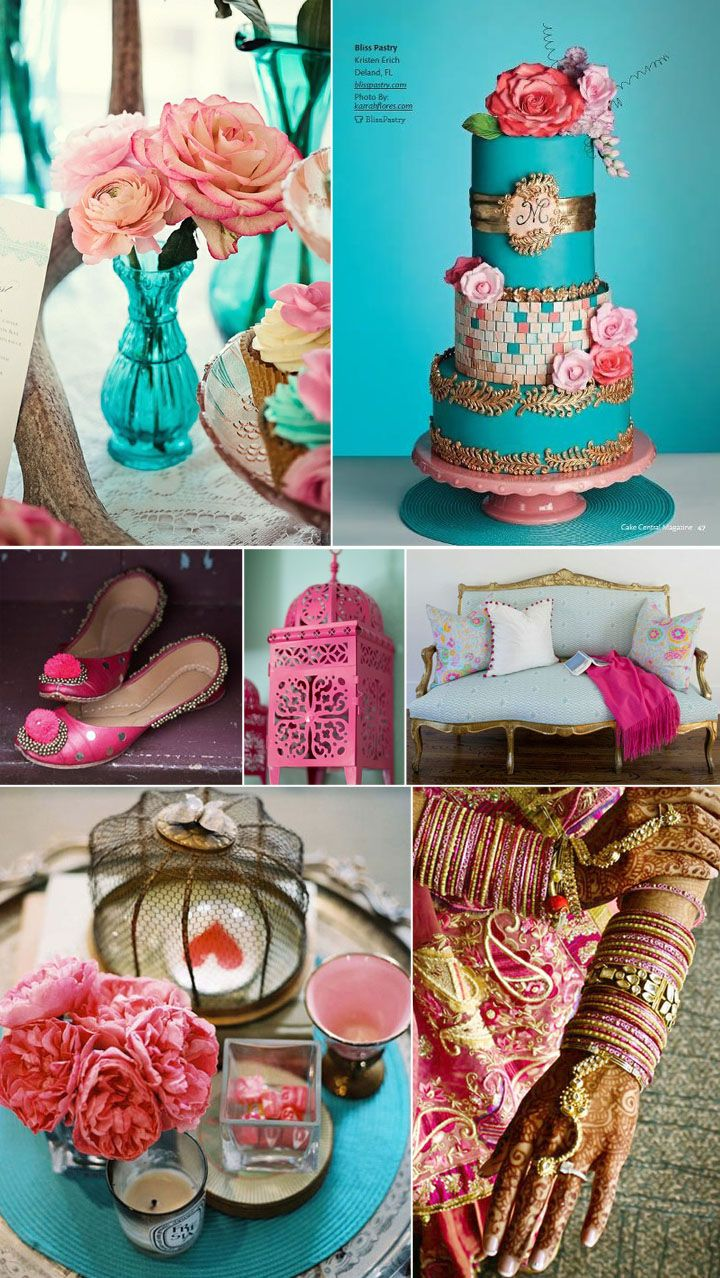 turquoise, pink & gold wedding colors