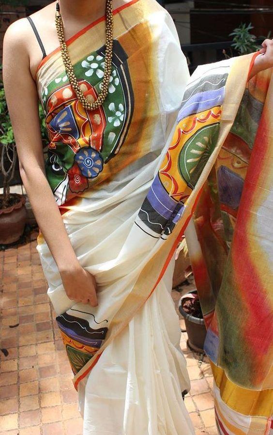 White Kerala cotton with Kathakali Handpainted work: