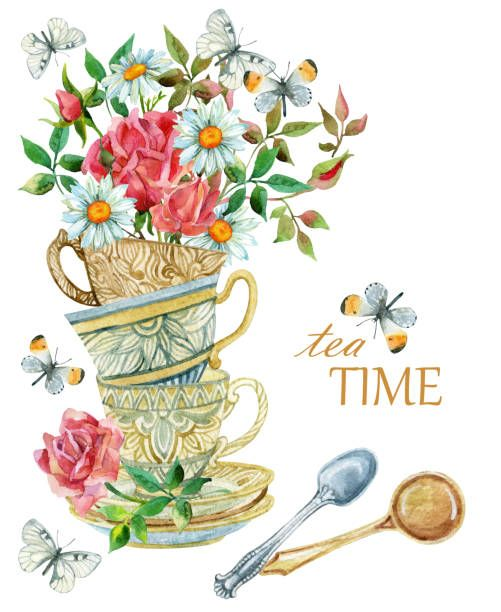 Watercolor Tea Cups Background With Spoon Flowers And