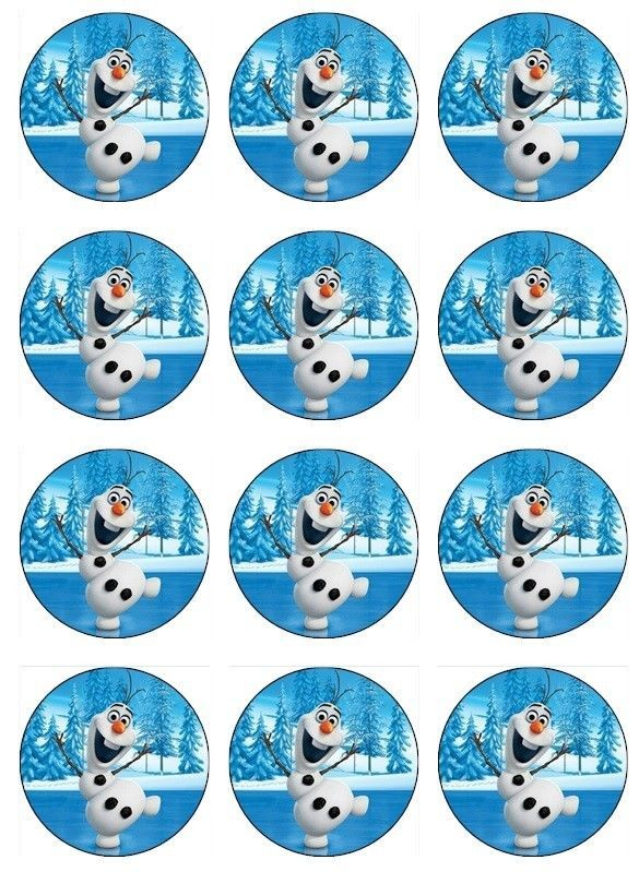 12 Edible Disney Frozen Olaf Cupcake Toppers Edible Image Cookie Topper Birthday