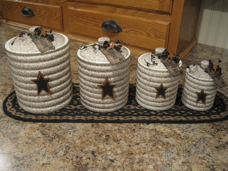 grubby canister set prim stars pinterest canister set of 3 primitive rustic star amp berries canisters country
