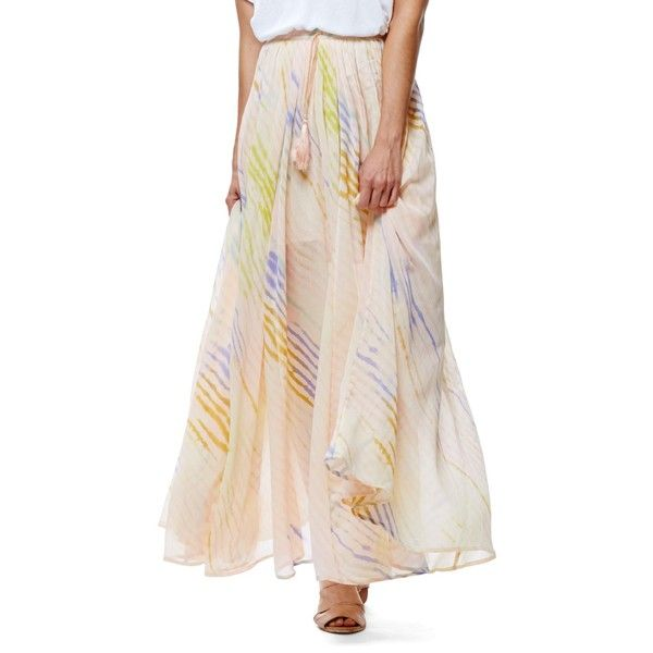 Free People True To You Maxi Skirt ($70) ❤ liked on Polyvore featuring skirts, ivory, ankle length skirts, free people maxi skirt, pink skirt, long pink skirt and long pleated skirt