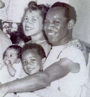 JIMMI HENDRIX.Mother Lucille, Father Al, Leon, and Jimi Hendrix