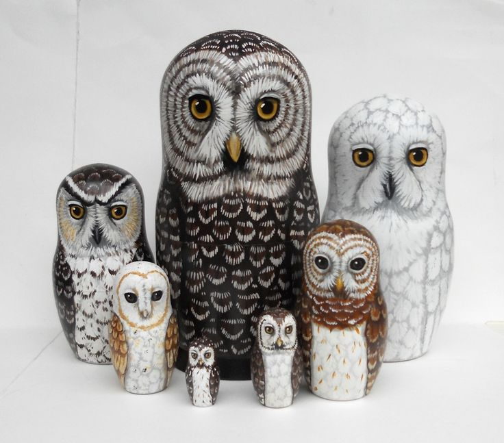 Owl Nesting Dolls- Large set of 7 - Woodland Phantoms. $130.00, via Etsy.