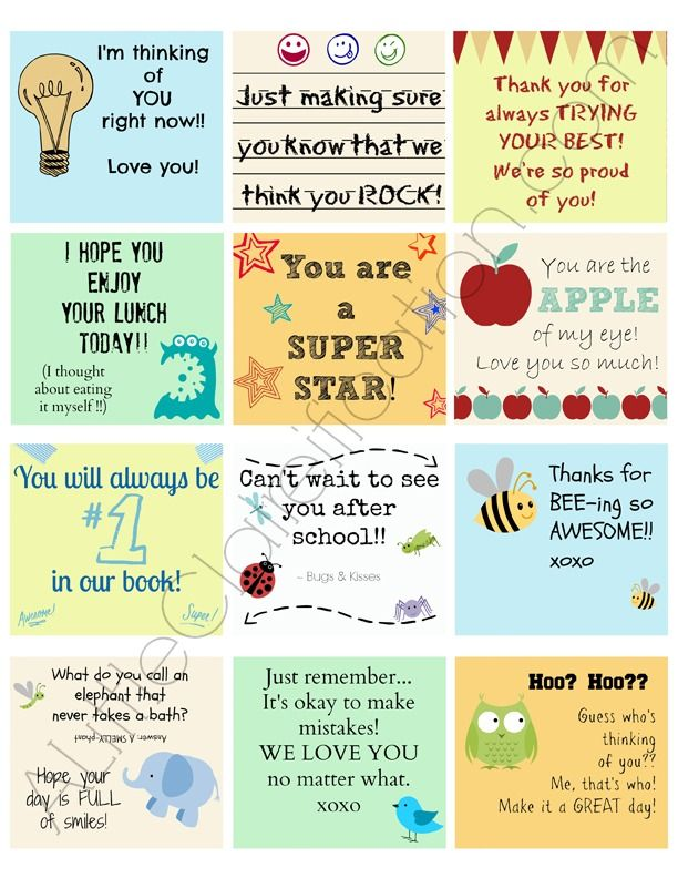 Printable Lunch Box Notes by ALittleClaireification.com #Lunch #notes #printables