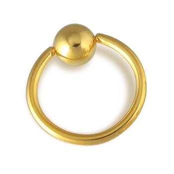 14K gold plated captive bead ring, 14 ga