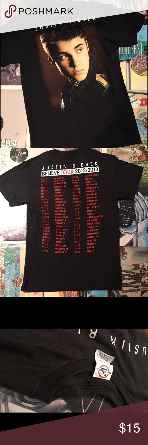 "Justin Bieber Concert T Shirt 2013 Justin Bieber Concert T Shirt . Front Side Displays A Screen Printed Justin Bieber and Tour Date Stops Listed on The Back . No Discoloration Screen Prints Has No Cracks !  UV36 🔥🔥🔥🔥🔥  Pit2pit:19""  Length:29""  Collar2sleeve:14"" Conert Shirt Shirts Tees - Short Sleeve"