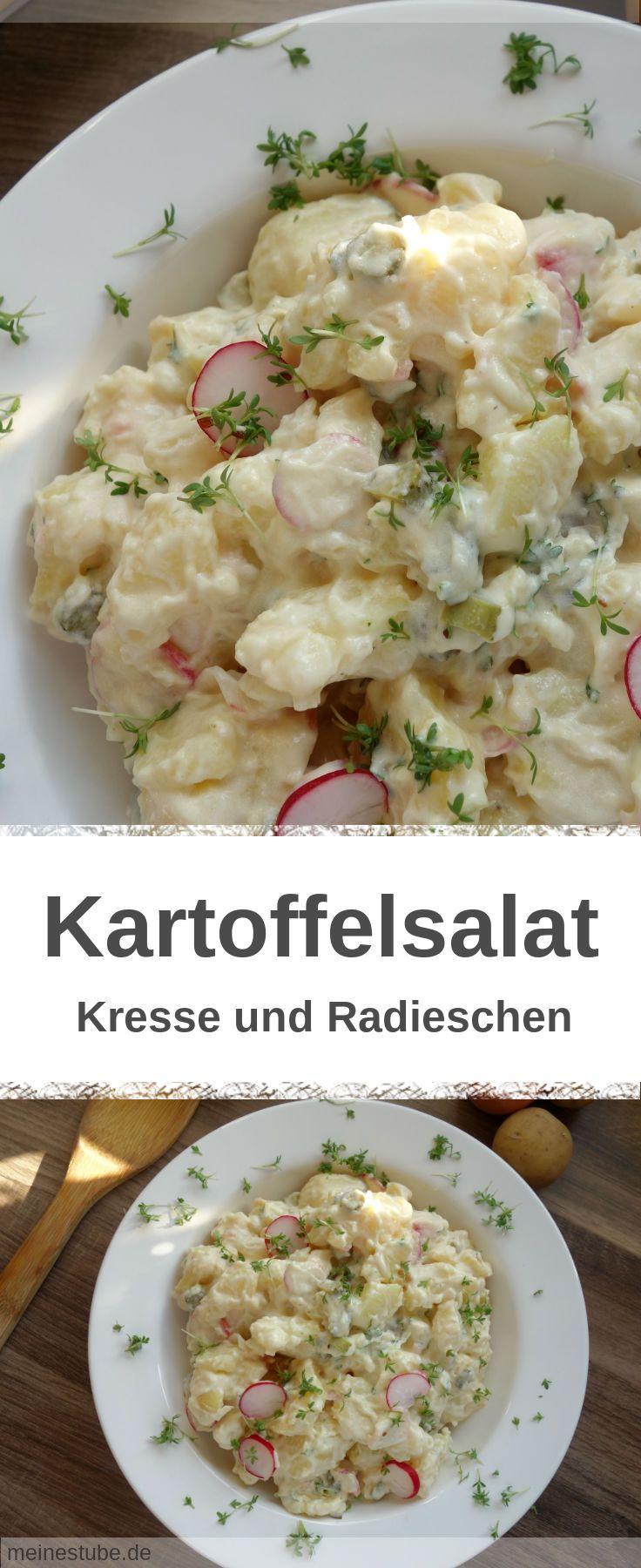 Rezept für einen Kartoffelsalat mit Kresse, Gewürzgurken und Radieschen. #kartoffelsalat #vegetarisch #salat