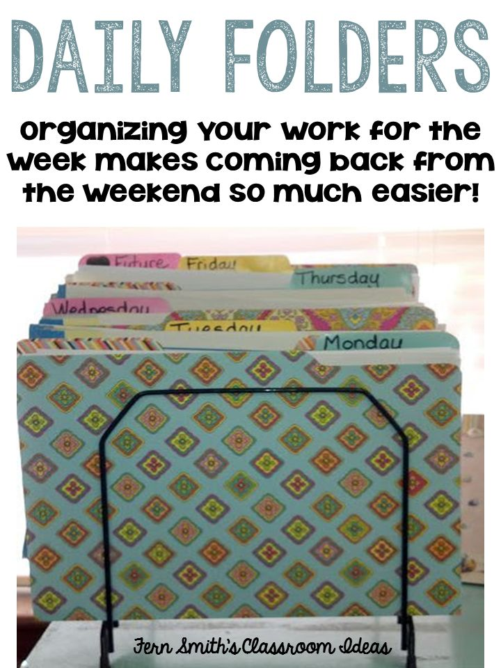 Fern Smith's Classroom Ideas organizing your students' work for the week in advance makes a teacher's life easier!