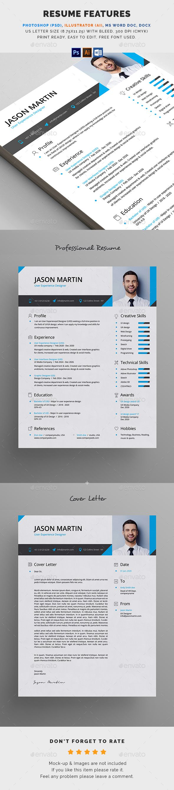 Resume #word template #official  • Download here → https://graphicriver.net/item/resume/20477551?ref=pxcr