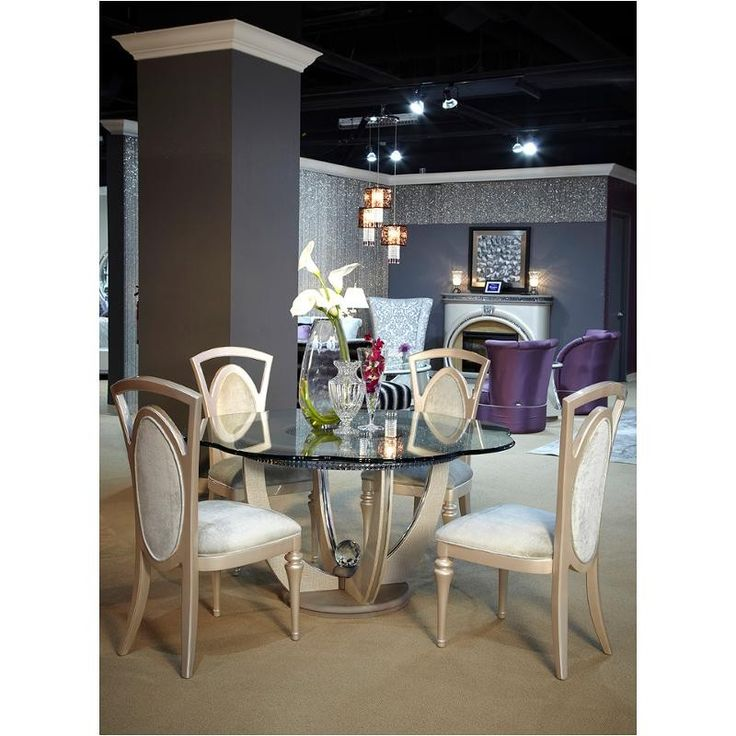 AICO Overture 60 Shaped Glass Dining Set In Cristal