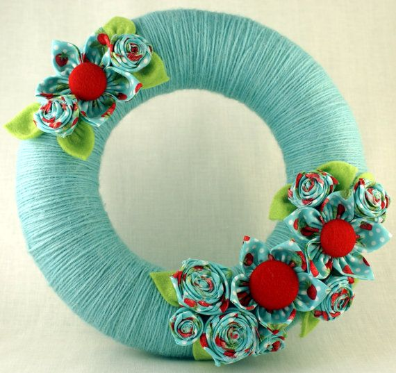 Wreath yarnwrapped fabric flowers home decor by kwurkee on Etsy