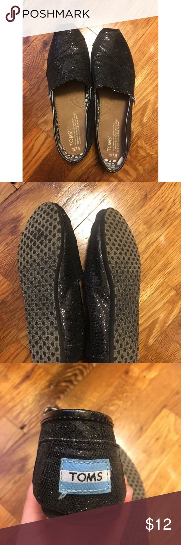Black Glitter Toms Size 7.5 Toms Black Glitter Flats in size 7.5. Excellent condition. Toms Shoes Flats & Loafers