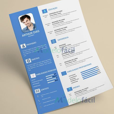 Modelo Currículo totalmente PRONTO para Edição/Manuseio e com estilo Moderno e Criativo.  Formato DOCX compatível com Microsoft Word 2007, 2010, 2013 e entrege apósa confirmação do pagamento.