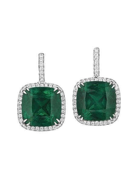 A Pair of Colombian Emerald and Diamond Ear Pendants, each suspending a cushion-cut emerald approximately 10.83 total carat weight. The emeralds are of Colombian origin, with indication of minor clarity enhancement.