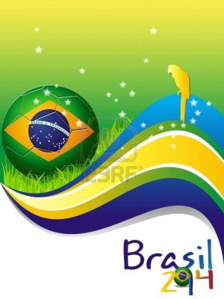 Poster Brazil 2014 soccer Football Stock Photo - 13986692