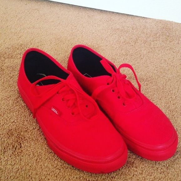 ALL RED VANS!  Monochromatic Red Vans.. size 7.5 in men Vans Shoes