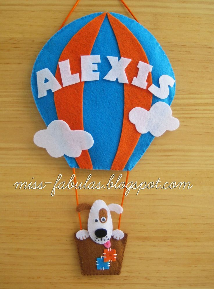 Baby name felt air balloon with dog - Nombre bebe globo aerostático con perrito en fieltro  CONTACT: carmenmissfabulas@gmail.com