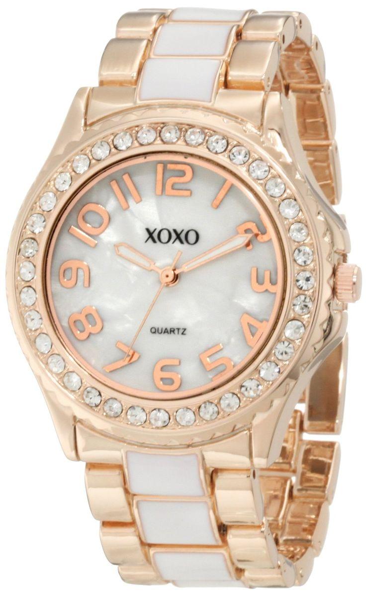 Xoxo women 39 s xo5472 rose gold with white epoxy analog bracelet watch price women 39 s for Watches xoxo