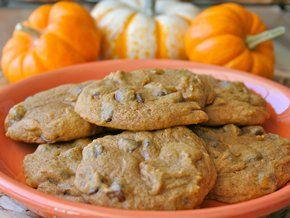 The BakerMama bakes pumpkin and chocolate chips into these chewy cookies that are great for fall snacking!