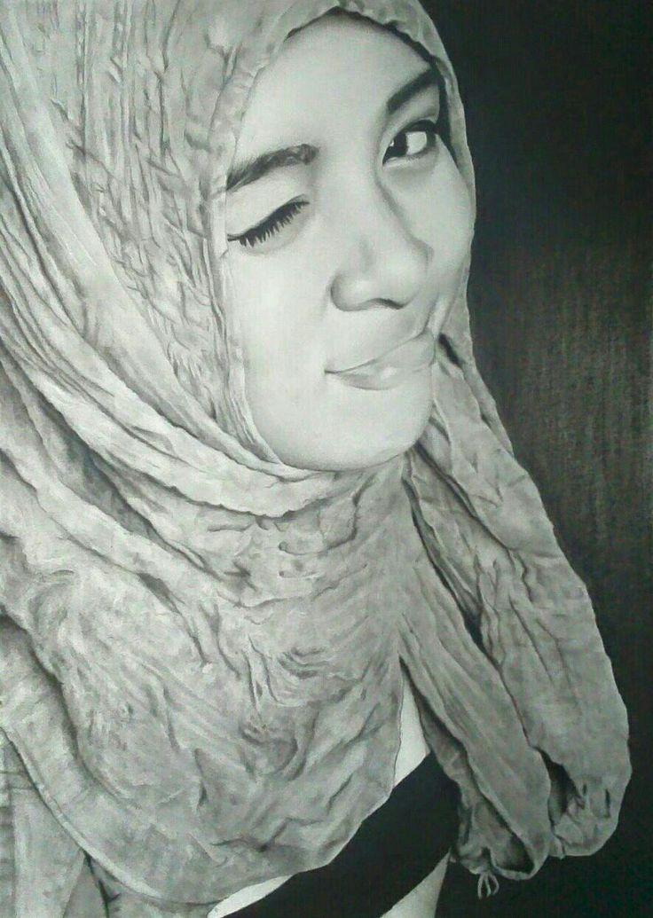 Hijab cantik, cewek, drawing portrait, pencill and charcoal on paper 30x40, by ari berta galung