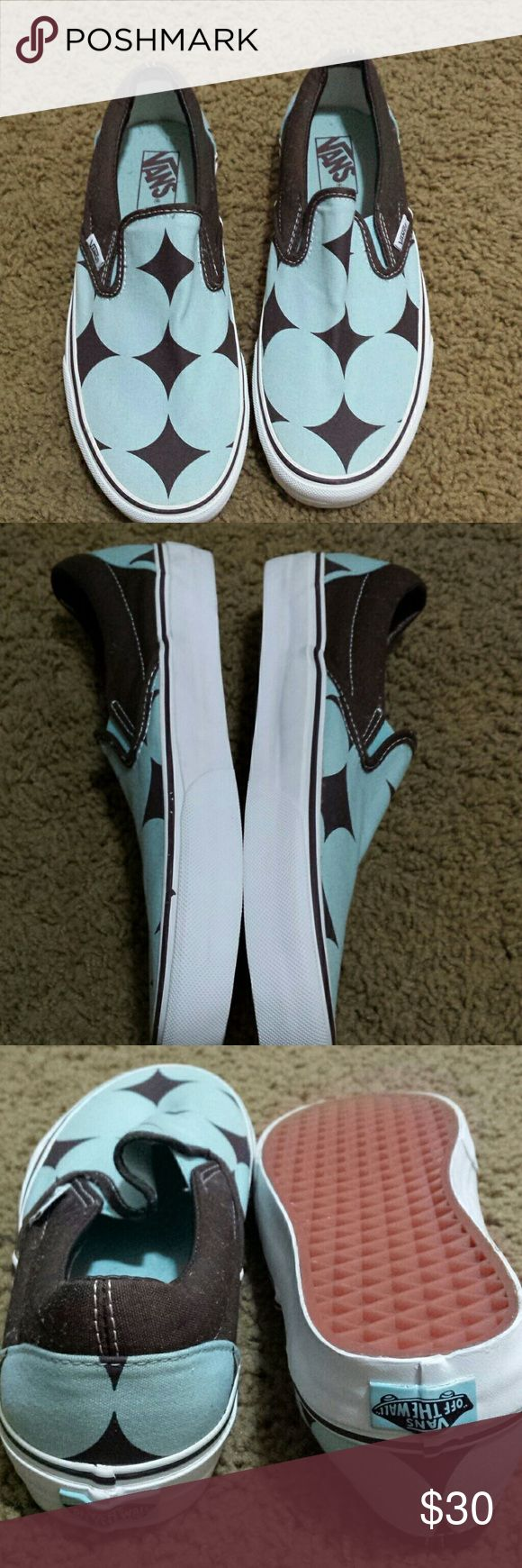 Final Sale Never Worn Slip On Vans Turquoise and brown, no box vans  Shoes Sneakers