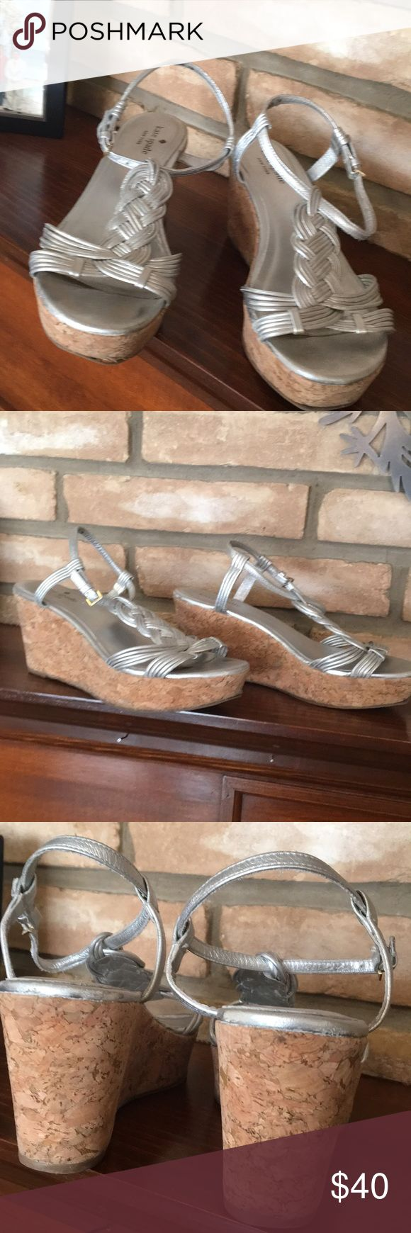 Kate Spade Silver Wedge sandals 7 Great Kate Spade wedges size 7, couple of issues on the sole but lots of wear left kate spade Shoes Sandals
