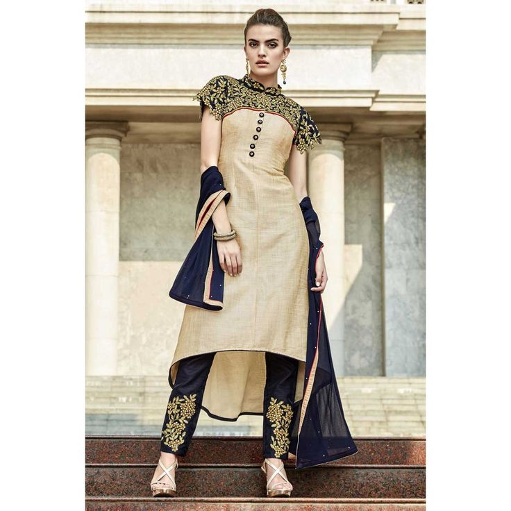 Designer, Trouser art silk indian prom suits,Beige resham embroidered andaaz outfits