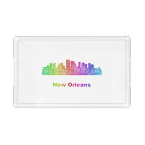 Rainbow New Orleans skyline Serving Tray $49.65 *** Rainbow city skyline of New Orleans  Louisiana. *** new orleans - new orleans louisiana - new orleans skyline - louisiana - rainbow - city - skyline - color - cityscape - downtown - new orleans la - silhouette - contour - landmarks - skyscrapers - art - line - curved - usa - serving tray