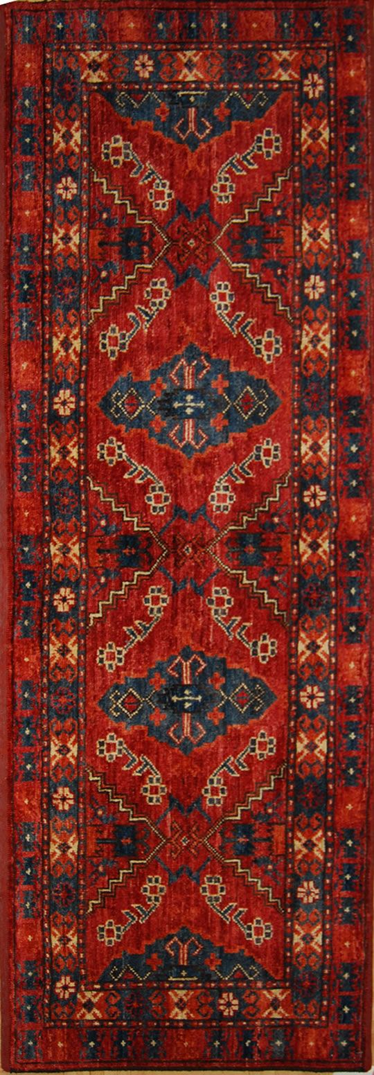 Oriental runner - red and blue
