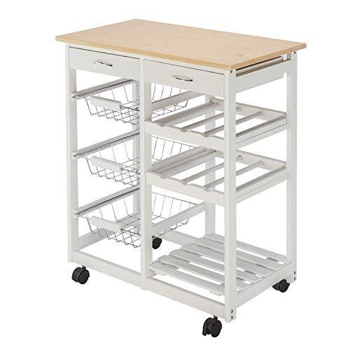 Rolling Kitchen Island Trolley Cart Storage Shelf Drawers