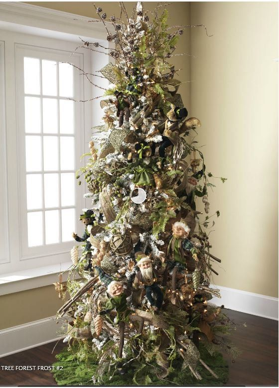 Superb Christmas Trees By Robert Frost Part - 11: (I Love The Moss Christmas Tree Skirt!) Forest Frost Decorated Tree, Filled  With Woodland Elves And Woodland Animals.