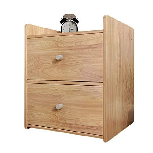 208387e2323b Bedside Table Cabinet, Double Drawer Wooden Night Stand Organisation ...