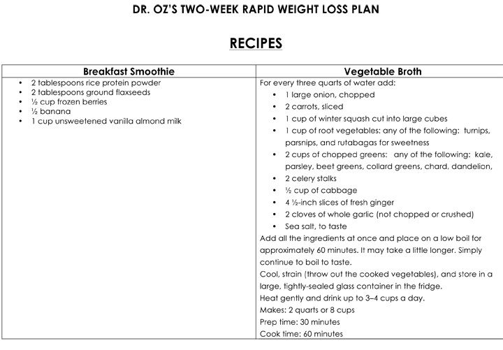 Dr Oz 2 Week Rapid Weight Loss Recipes | RAD DIET & others ...