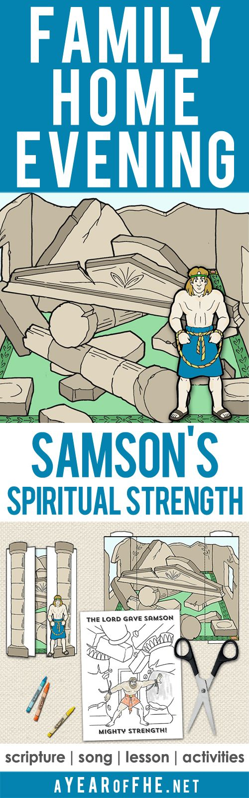 Check out this Family Home Evening about Spiritual Strength! It tells the story of Samson and how his spiritual strength made his physical strength possible. It teaches how we can increase our spiritual strength so we can remain true to our faith. Includes song, scripture, lesson and two printable activities! Your FHE is ready...just CLICK, PRINT, and TEACH! #lds #samson #bible #obedience