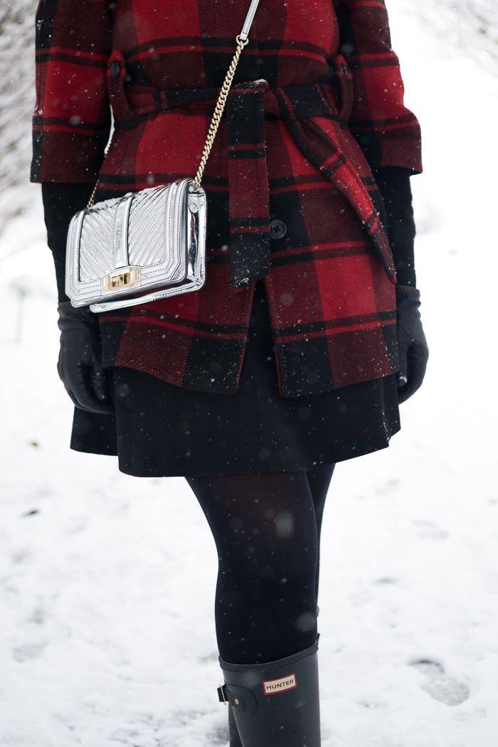 Buffalo Plaid Coat + Rebecca Minkoff Small Love Crossbody + Hunter Huntress Wellies