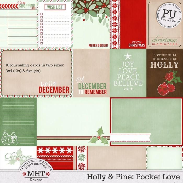 Free Holly and Pine Pocket Love Journal Cards from Mistyhilltops