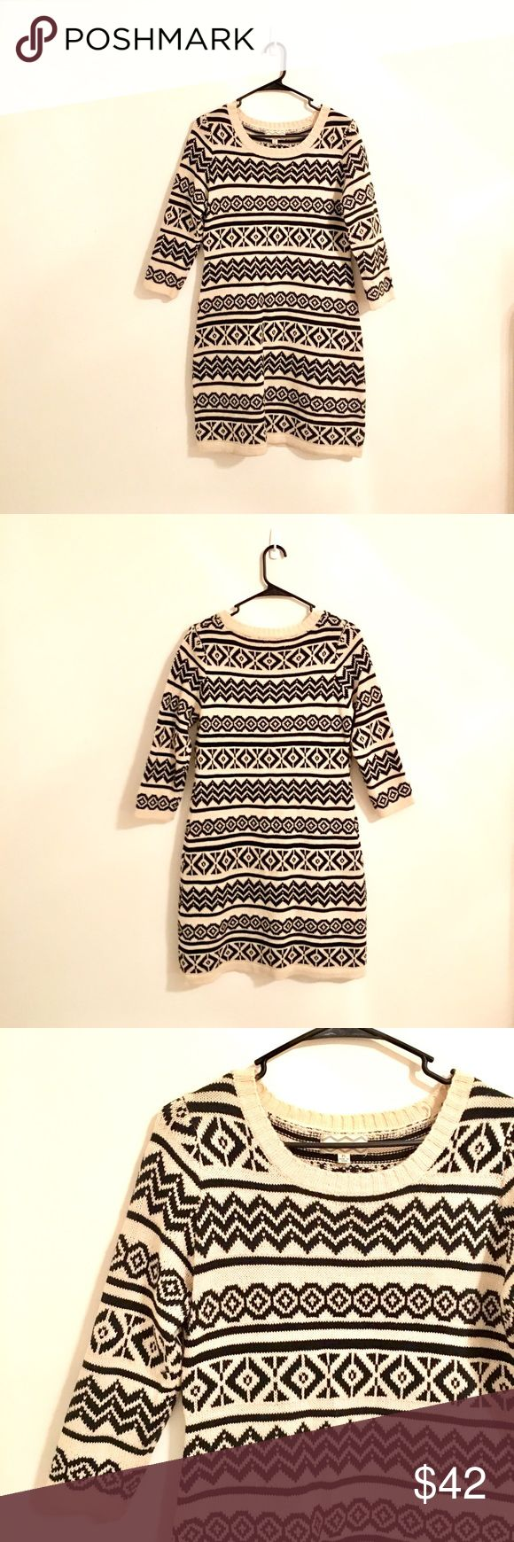 Aztec Sweater Dress Cream & black sweater dress. Super comfy & perfect for fall/winter!! Can be worn with leggings or as a dress on its own. Only worn a few times & in great condition! Could fit a size M-L. Pink Rose Dresses Midi