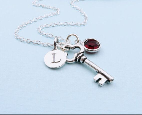 Custom Initial Letter Silver Key Pendant Necklaces,Personalized Birthstones Necklace,