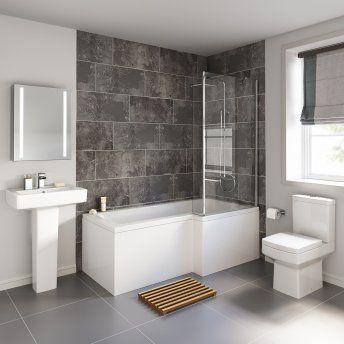 1700x850mm Belfort Shower Bath Suite - L Shaped Right Handed