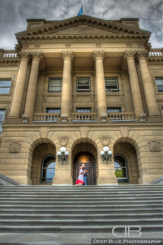 Photograph of couple on the steps of the Legislature