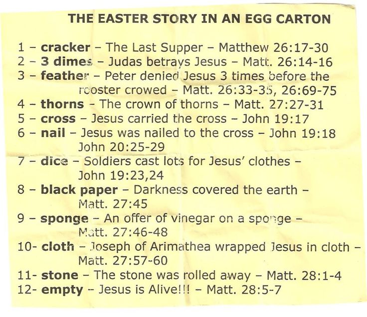Fill 12 plastic eggs with these items. Fun way to engage kids in the Easter story.